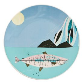 Mod Fish Dinner Plate Ford Times Charles Salmon Waterfall Trout