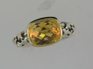 14kt Gold and Sterling Silver Citrine Charles Krypell Ring