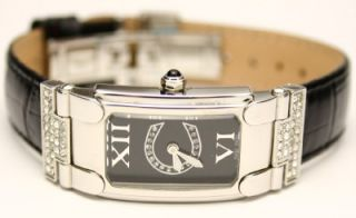 Cerruti 1881 Rimini Swarovski Black Leather Watch New
