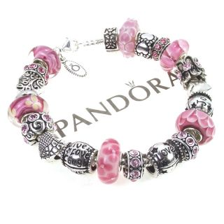 Pandora Bracelet Pink Murano Bead Live Love Laugh Joy Words Charm