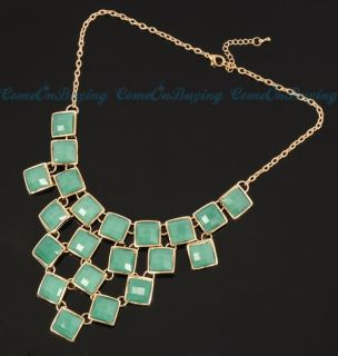 Jade Green Square Pendants Connected Big Bib Necklace Jewelry