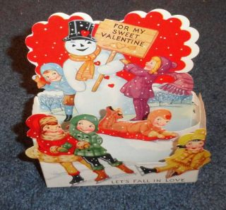 Vintage Stand Up Diecut Valentines Day Greeting Card