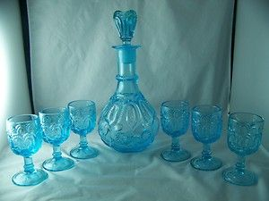 WRIGHT MOON AND STAR ICE BLUE DECANTER AND (6) SIX 3 OZ.WINE