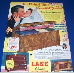 1942 Lane Cedar Hope Chest Bride Groom Ad