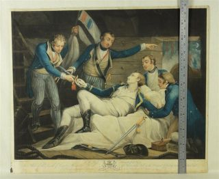Death of CAPTAIN Alexander Hood, V RARE and large coloured MEZZOTINT