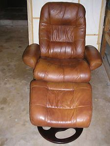 Lanes Angelo Leather Reclining Swivel Chair and Ottoman