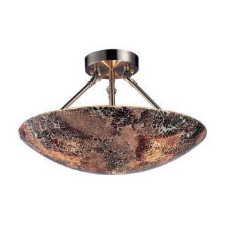 NEW 3 Light Semi Flush Ceiling Lighting Fixture, Satin Nickel