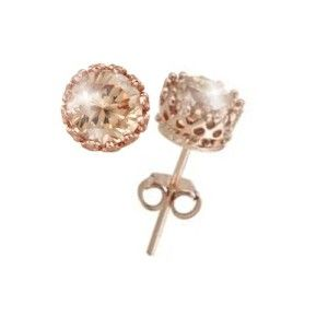 3ctw Champagne Diamond Alternatives Crown Stud Earrings 14k Rose Gold