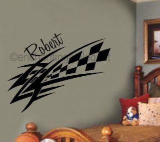 Checkered Racing Decal Custom Name Vinyl Decal Wall Sticker Words Boys