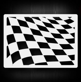 Waving Checkers Airbrush Stencil Template Airsick