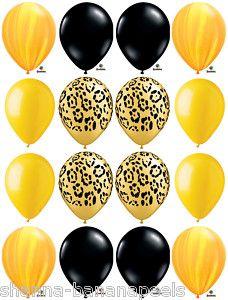 16 Yellow Cheetah Party Balloons Safari Swirls Black