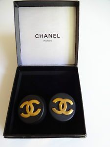 MATTE BLACK WITH GOLD CHANEL DOUBLE C TRADEMARK CLIP ON EARRINGS