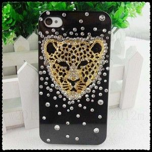 Black Leopard Head Rhinestone Cell Phone Case Cover Shell Skin for
