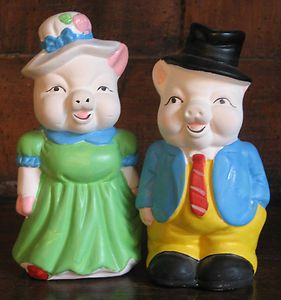 Pair of Vintage Hand Painted Bisque Man Woman Pig Piggy Banks