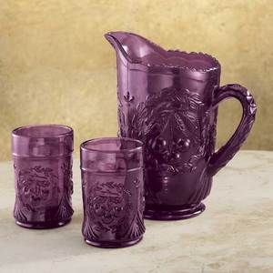 Amethyst Purple Pitcher Juice Glasses Cherry Pattern Depression Style