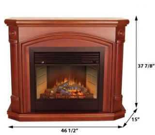 Vent Free Electric Heater Cherry Fireplace Mantel Wall