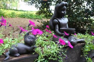 New Stone Look Cat Garden Statue Outdoor Yard Decor
