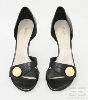 Charles By Charles David Black Leather & White Button DOrsay Heels Sz