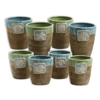piece ceramic beach flower pot set this pfaltzgraff 8 piece ceramic