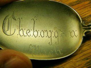 Sterling c1920 Cheboygan Michigan Souvenir Spoon with American Indian