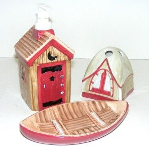 camping 3pc ceramic bath set tent canoe outhouse soap dish pump tb