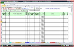 Checking Account Manager MS Excel Template Spreadsheet