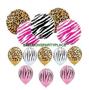 BALLOONS Leopard Zebra black white pink party supplies decorations