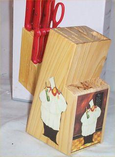 Red Knife Set 13 PC Butcher Block ORG Fat Chef Bistro Kitchen Decor