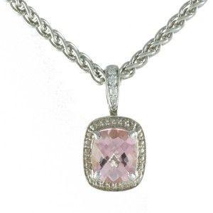 Charles Krypell 14kt White Gold Diamond 925 Sterling Pink Topaz