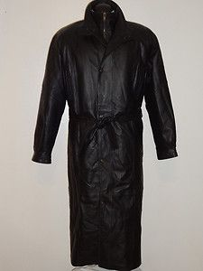 Charles Klein Black Leather Lined Insulated Long Trench Coat Jacket