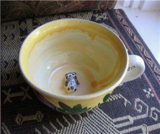 Seyko Keramic Chemnitz Germany Dog Inside Mug Hand Painted Pottery