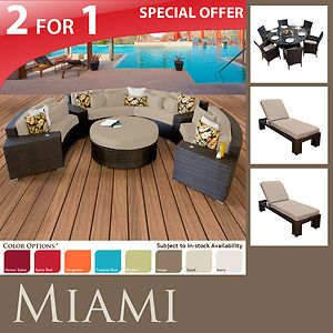Furniture Patio Sofa Set 7pc Dining 2 Modern Lounge Chaises