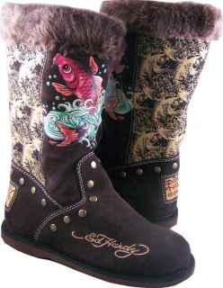 Womens Ed Hardy Brown Koi Fish Bootstrap Boots Shoes