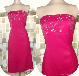 Retro Crimson Red Cherry Blossom Embroidered Party Dress Strapless 7 8