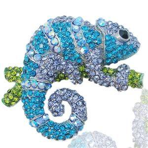 Chameleon Reptile Brooch Pin Rhinestone Crystal Blue w Purple Lizard