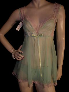 70s 2pc Sheer Green Nylon Panties Short Chiffon Nightgown