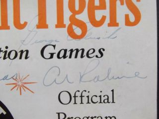 1961 Autograph Detroit Tigers Program Al Kaline Norm Cash