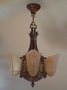 Shade Art Deco Chandelier by Moe Bridges with Original Shades