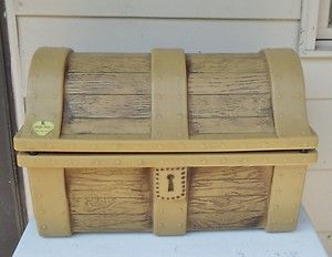 ... Vtg 60s Little Tikes Pirate Treasure Chest Toy Box Storage Faux Wood ...