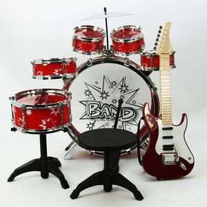 Drum Set Electric Guitar Musical Instruments Toy Educational Playset