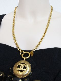 Chanel Vintage CC Gold Charm Necklace 80s at Bloomsvintagecouture on