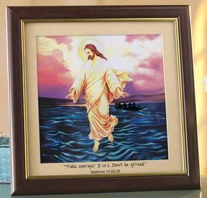 JESUS WALKING ON WATER PORTRAIT WITH LIGHTED COLOR CHANGING BACKGROUND