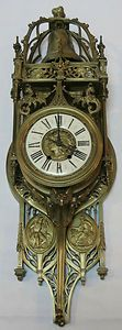 Antique Lemerle Charpentier Large 33 Brass French Wall Clock Enamel