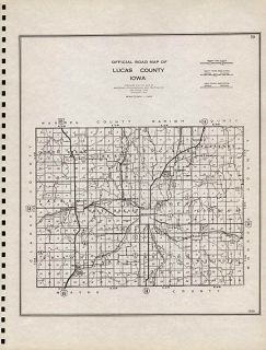 LUCAS COUNTY IOWA authentic Vintage Map CHARITON IA made in 1939
