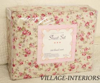 Victoria Chic Shabby Abbey Pink Rose 3pc Twin Sheet Set