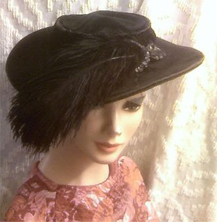 Old Victorian Black Velvet Large Brim Ostrich Feather Sequin Beaded