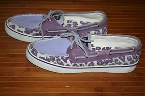 Sperry Top Sider Womens Purple White Cheetah Print Canvas Boat Shoe