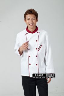Autumn Mens Long Sleeved Chef Coat Kitchen Staff Uniforms Apparel 4