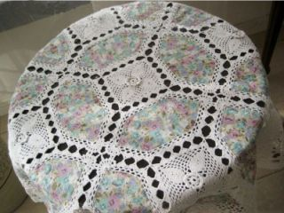 3D Flower Hand Crochet Insertion Cotton Round Table Cloth Xmas Sale