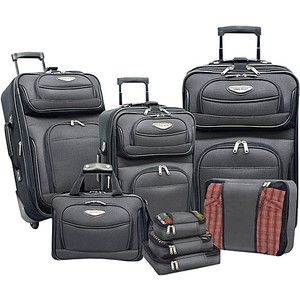 Travelers Choice Amsterdam 8 piece Luggage Set   Gray
